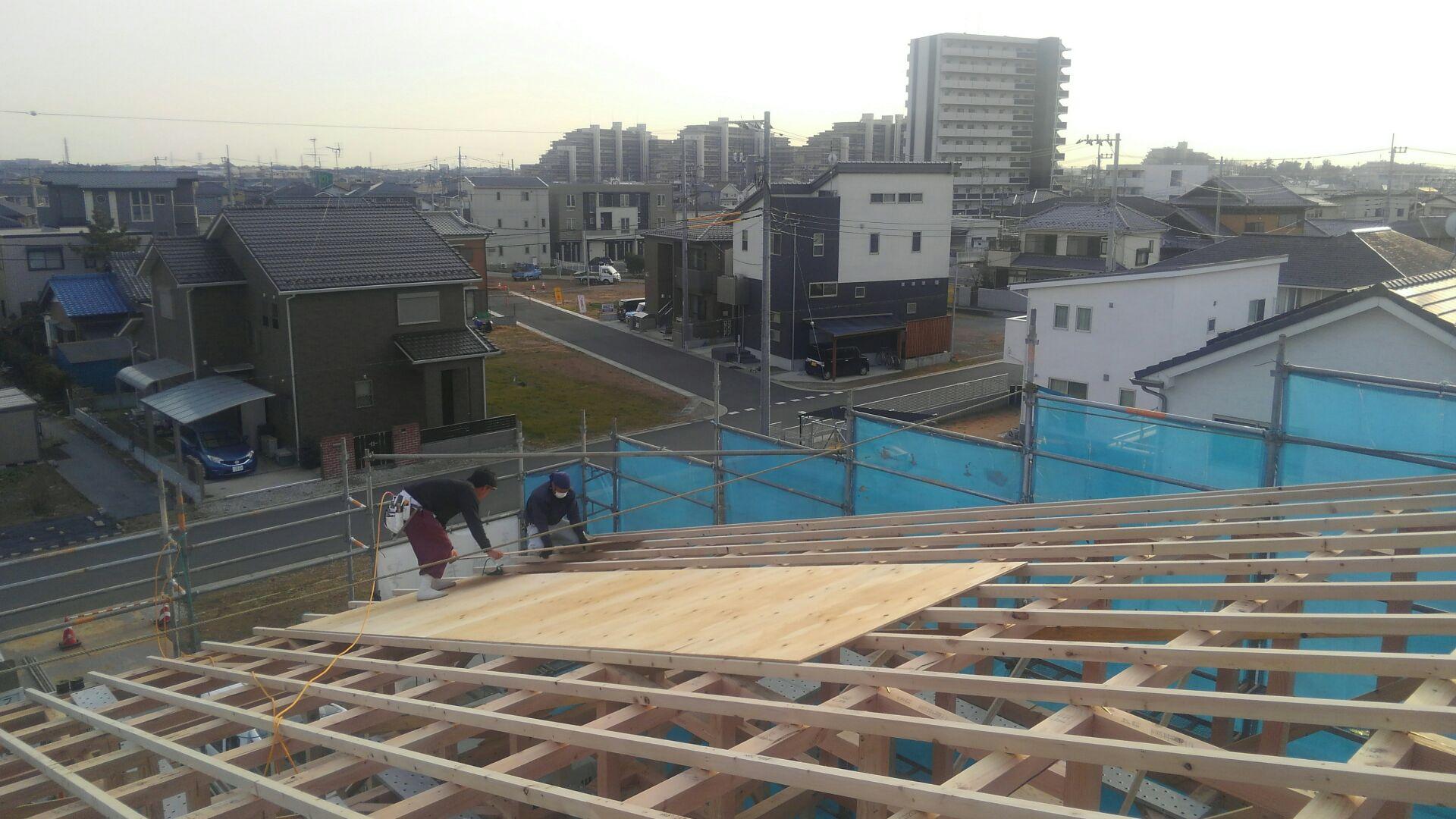 大工さんが屋根の下地、野地工事をはじめました。M様邸、一野地(ひとのじ)の大屋根!迫力ありますね。