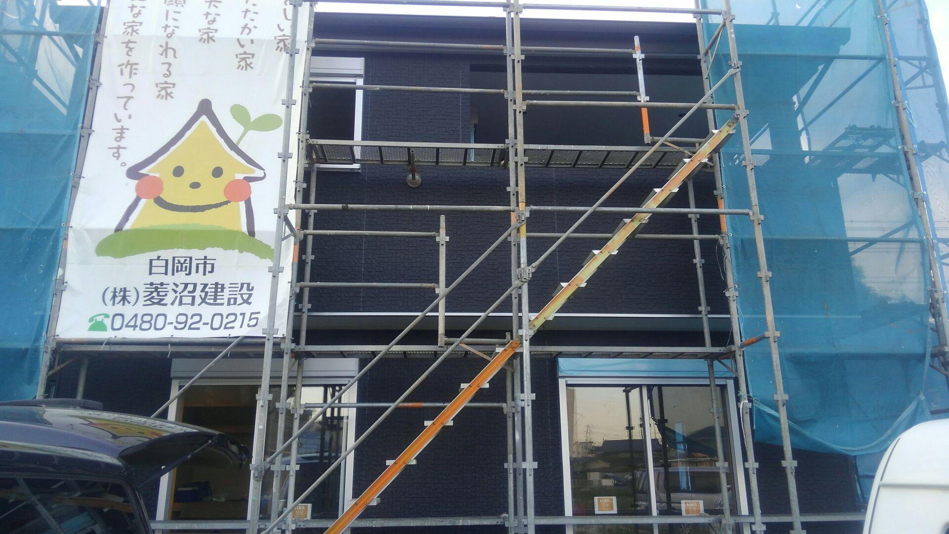 外部サイディング工事が終わりました。もう間もなく、建物の全貌がお披露目です。